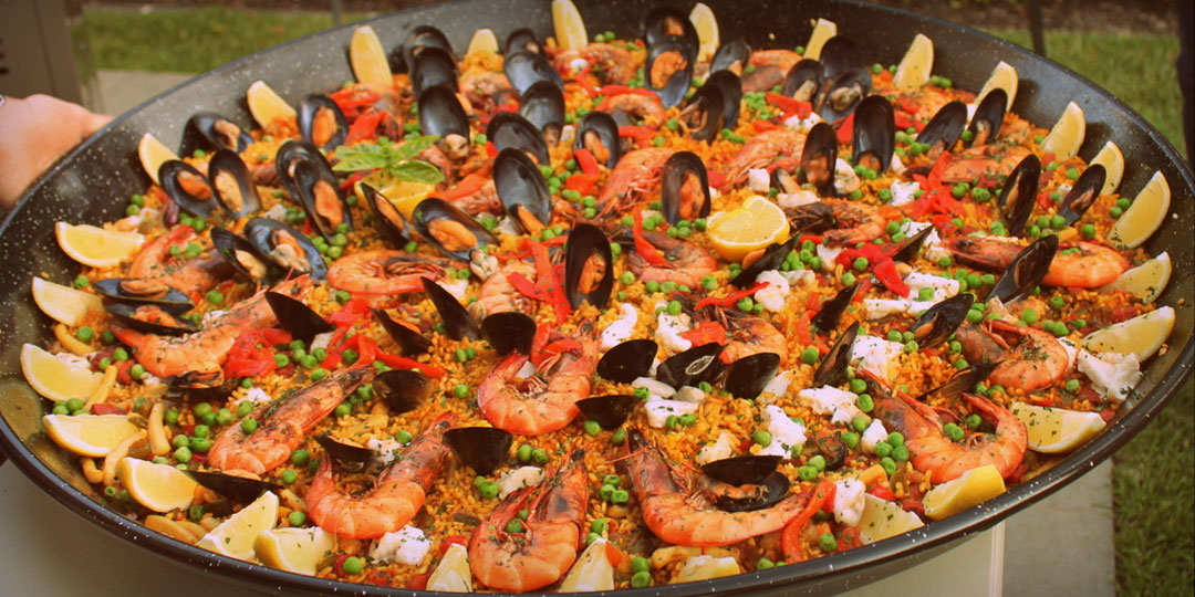 Seafood paella , Spanish catering